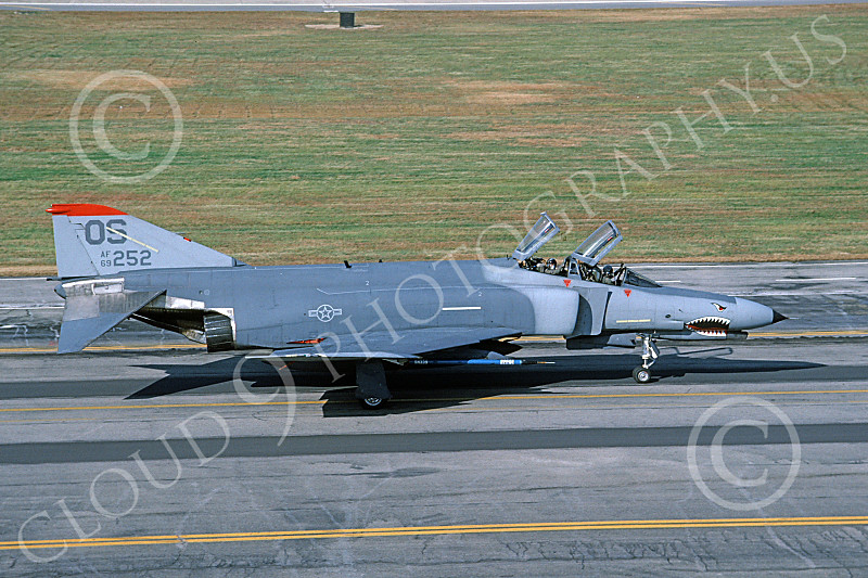 F-4USAF 00061 A taxing McDonnell Douglas F-4E Phantom II USAF 69252 OS code SHARKMOUTH 10-1987 military airplane picture by Peter R Foster.JPG
