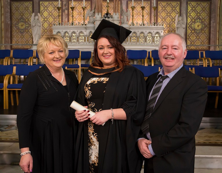 Waterford Institute Of Technology Conferring. Pictured at WIT Waterford Institute Of Technology Conferring Edel Fitzpatrick from Portlaoise who graduated Bachelor Of Science (Hons) Engineering, Aslo pictured are Martha and Liam Fitzpatrick. Picture: Patrick Browne