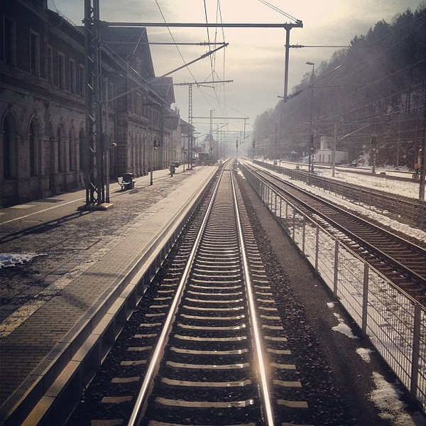 Czech Republic looking back, a last gasp of winter on the railroad tracks. When this fog lifts, spring?