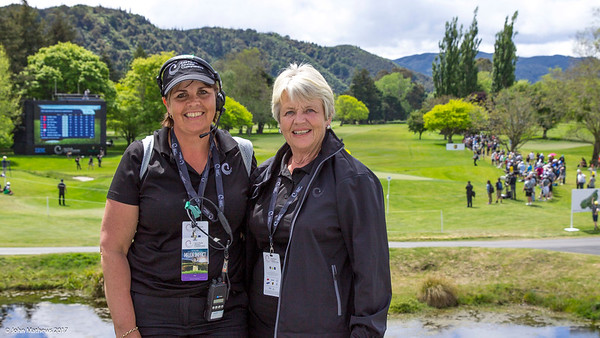 A very tired volunteer scorer Nikki Stephens (left) on the final day of the Asia-Pacific Amateur Championship tournament 2017 held at Royal Wellington Golf Club, in Heretaunga, Upper Hutt, New Zealand from 26 - 29 October 2017. Copyright John Mathews 2017.   www.megasportmedia.co.nz