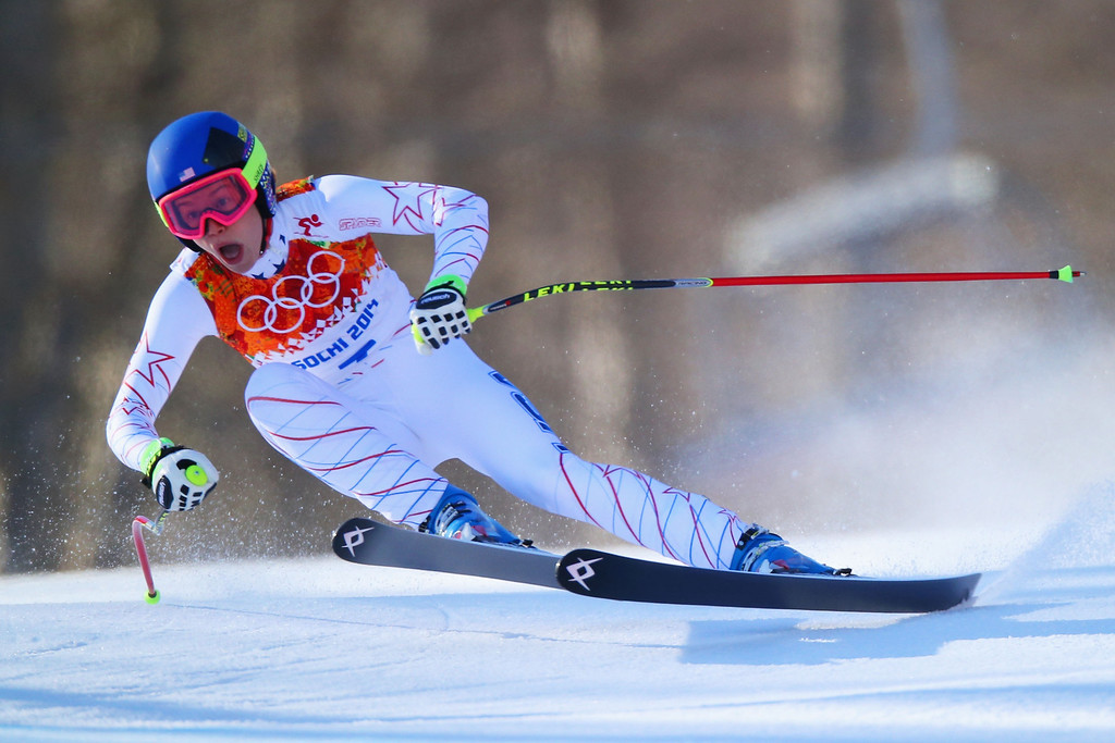 . Laurenne Ross of the United States skis during the Alpine Skiing Women\'s Downhill on day 5 of the Sochi 2014 Winter Olympics at Rosa Khutor Alpine Center on February 12, 2014 in Sochi, Russia.  (Photo by Clive Rose/Getty Images)