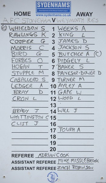 AFC Stoneham (3) v Weymouth Res (2) 17.12.2016