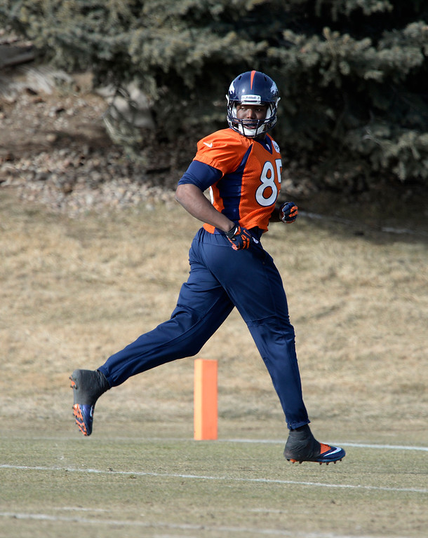 . Denver Broncos tight end Virgil Green (85) runs through drills during practice January 16, 2014 at Dove Valley. The Denver Broncos are preparing for their AFC Championship game against the New England Patriots at Sports Authority Field.  (Photo by John Leyba/The Denver Post)