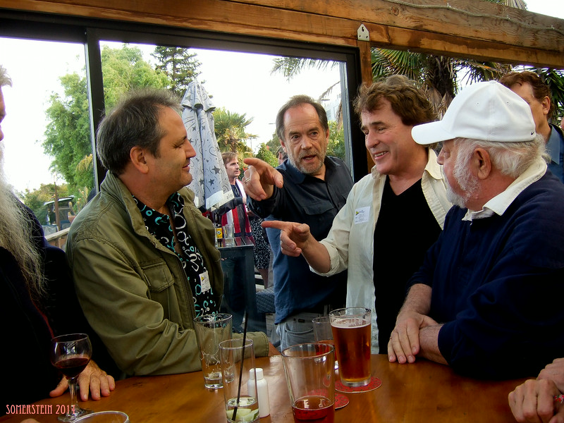 Jack Boulware (Litquake), left; Mark Rennie (lawyer), 2nd on left; ?, 2nd on right; Robert Altman (photographer), right; - Mark Rennie and his friend Michelle's birthday party at Bayview Boat Club