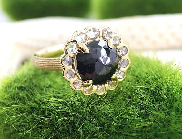 2.05ct Black Rose Cut Diamond in Sholdt R621
