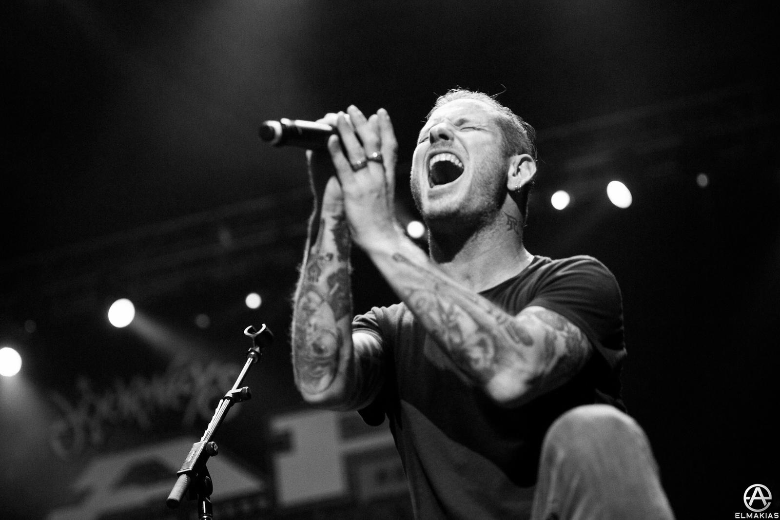 Corey Taylor of Slipknot with Halestorm at the Alternative Press Music Awards 2015 by Adam Elmakias