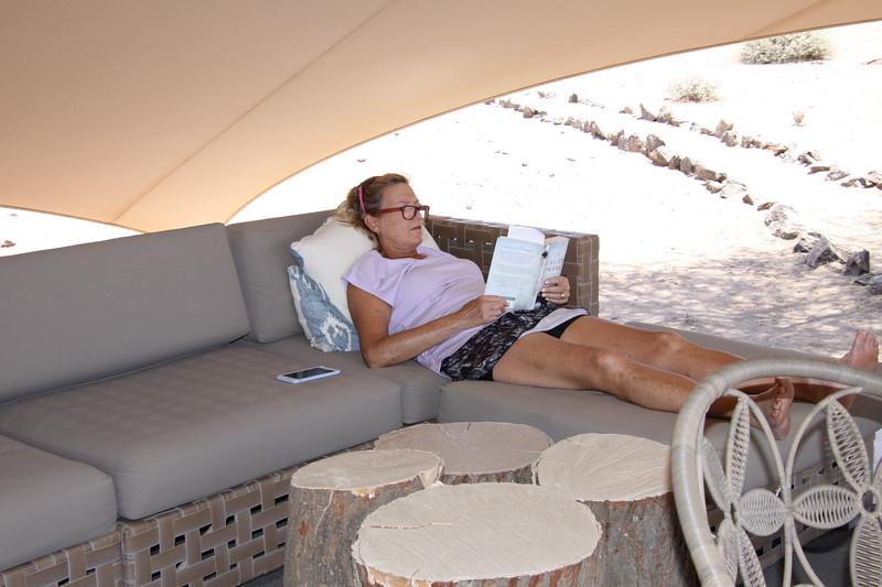 Bobbi reading at Huanib Skelton Coast Camp