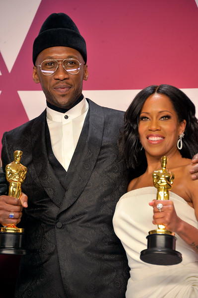 """ACADEMY AWARDS 91ST OSCARS PRESSROOM HELD AT THE LOWES HOTEL IN HOLLYWOOD CALIFORNIA ON FEBRUARY 24,2019. MAHERSHALA ALI & REGINA KING BEST SUPPORTING ACTOR """"GREEN BOOK"""" & REGINA KING BESYT SUPPORTING ACTOR """"IF BEALE STREET COULD TALK"""" PHOTOGRAPHER VALERIE GOODLOE"""