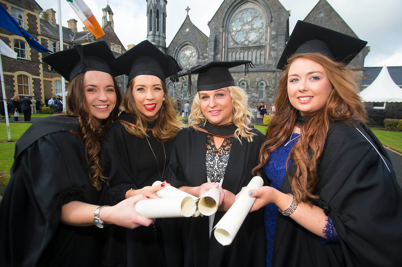 28/10/2015. FREE TO USE IMAGE. WIT (Waterford Institute of Technology) conferring ceremony at WIT College Street Campus, Waterford. Pictured are Rebecca Walsh, Tramore, Co. Waterford, Joanne Noonan, Roscrea, Co. Tipperary, Annie Ryan, Waterford and Enya Ryan Roscrea, Co. Tipperary who graduated BA (Hons) in Social Care. Picture: Patrick Browne