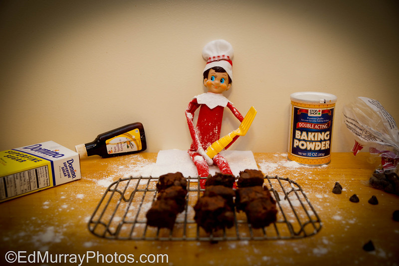 Elf the Baker: He put on his chef hat, baked some brownies and made a mess. (I made one mistake however...The kids saw this and wanted to eat the brownies for breakfast)    12/11/2012