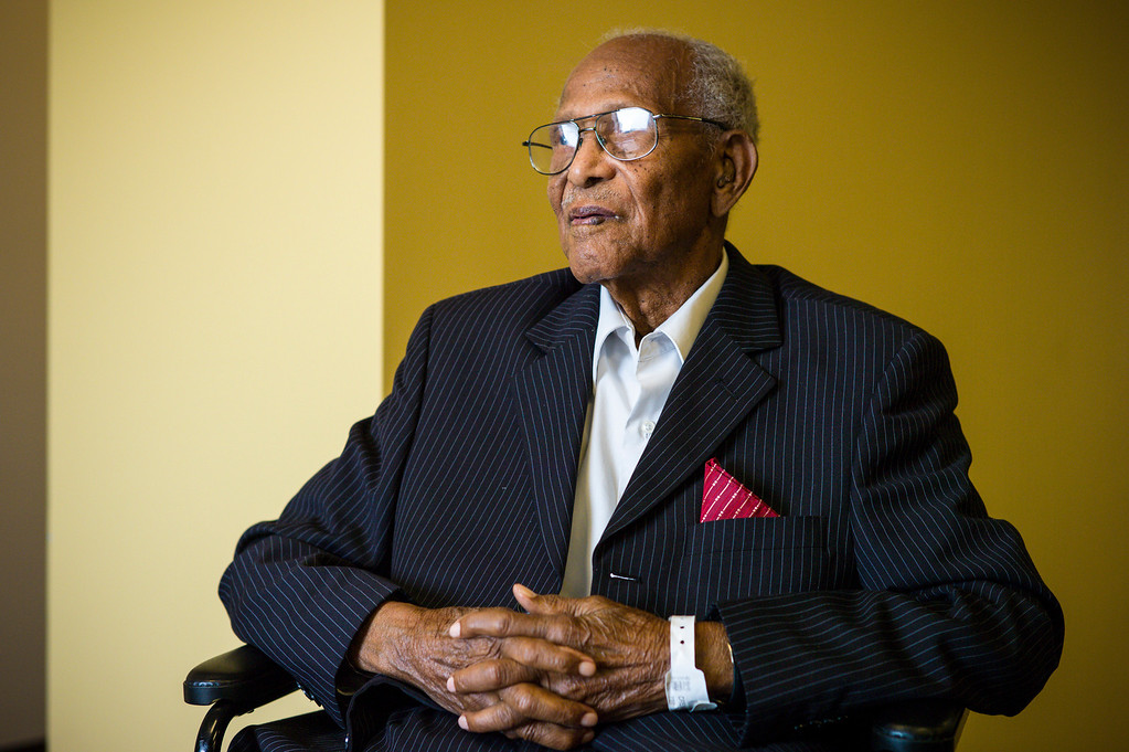. Walter Crenshaw celebrated his 104th birthday Sunday, October 27, 2013.  A surprise 104th birthday celebration was held for the oldest living Tuskegee Airman at the Veterans Home of California in Los Angeles.   ( Photo by David Crane/Los Angeles Daily News )
