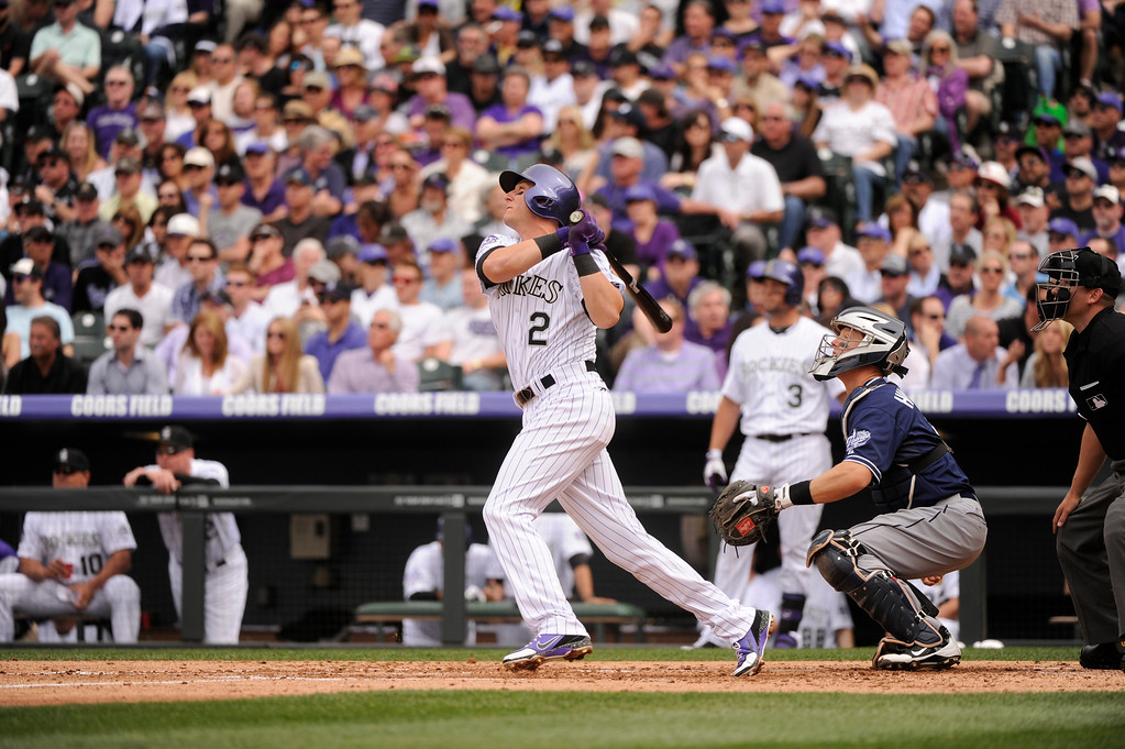 . Troy Tulowitzki (2) of the Colorado Rockies flies out to center in the second inning.  (Photo by Karl Gehring/The Denver Post)