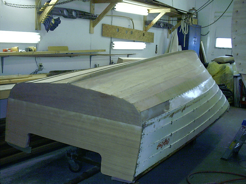 Port rear view of three coats of epoxy applied and sanded.
