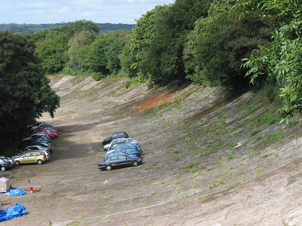 The old banked racetrack at Brooklands.