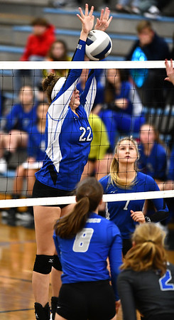 11/1/2019 Mike Orazzi | StaffrBristol Eastern's Hannah Webber (22) during Friday night's girls volleyball match with Lyman Memorial in Bristol.