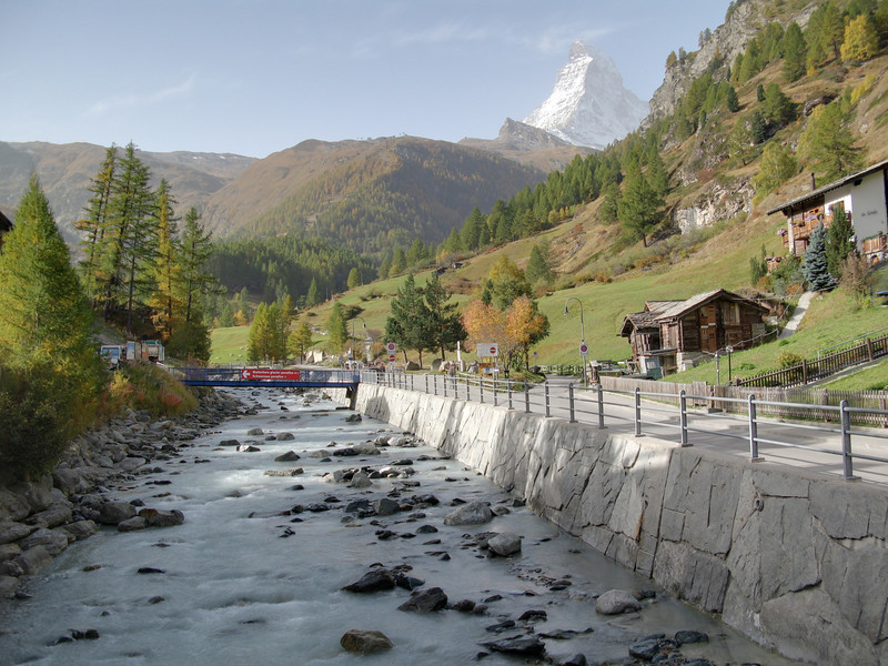 Enfuse HDR photo of the river running though Zermatt with the Matterhorn in the background.