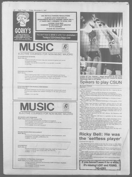 Daily Trojan, Vol. 105, No. 46, November 06, 1987