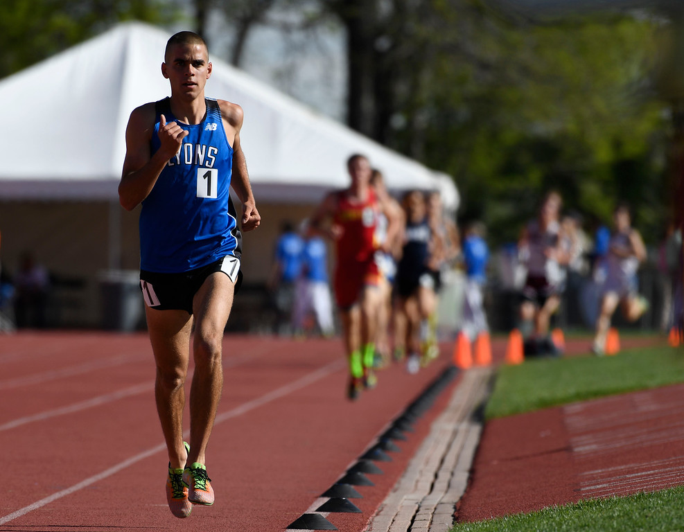 . LAKEWOOD, CO - May 20: Paul Roberts, Lyons High School, makes his way down the front stretch during the boys 2A 3200 meter run at the Colorado State High School Track and Field Championships at Jeffco Stadium May 20, 2016. Roberts won the race with a time of 9:26:17, a new meet record. (Photo by Andy Cross/The Denver Post)