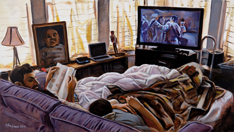 Men on sleeper, acrylic on canvas, 34 x 60 in, 2019