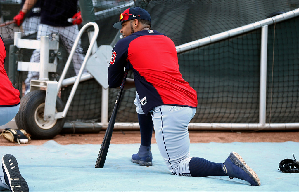 . Cleveland Indians\' Edwin Encarnacion waits his turn to hit during batting practice before a baseball game against the Minnesota Twins Thursday, May 31, 2018, in Minneapolis. (AP Photo/Jim Mone)