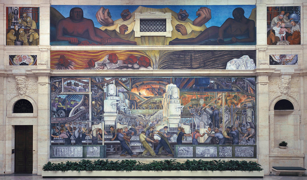 . Detroit Industry, north wall, Diego Rivera, 1932-33, fresco. Detroit Institute of Arts (engine and transmission production)