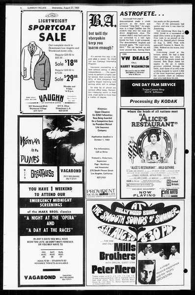Summer Trojan, Vol. 60, No. 16, August 27, 1969