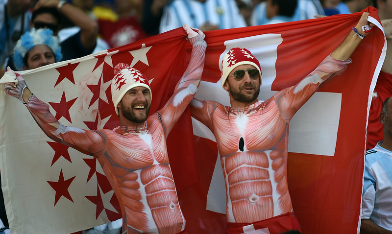 . Switzerland fans cheer prior to the Round of 16 football match between Argentina and Switzerland at the Corinthians Arena in Sao Paulo during the 2014 FIFA World Cup on July 1, 2014. (ANNE-CHRISTINE POUJOULAT/AFP/Getty Images)