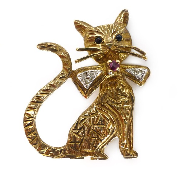 VINTAGE 1980S 9CT GOLD DIAMOND & RUBY CAT BOW TIE BROOCH