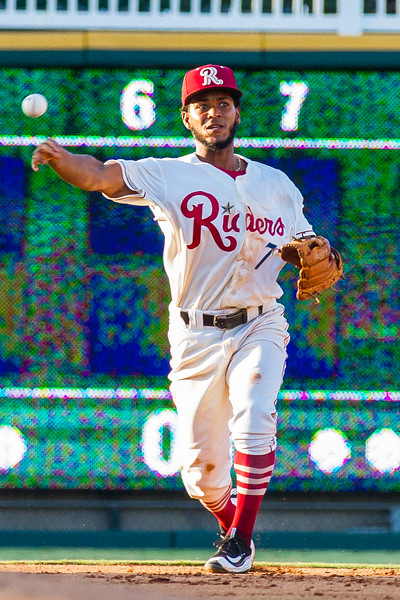 Frisco RoughRiders' Alberto Triunfel makes a throw to first base in an MiLB game against the Corpus Christi Hooks at Dr. Pepper Ballpark in Frisco, Texas, Thursday, June 23, 2016. (Photo by Sam Hodde)