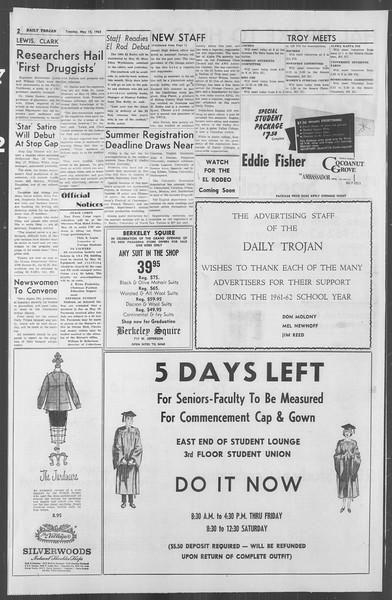 Daily Trojan, Vol. 53, No. 124, May 15, 1962