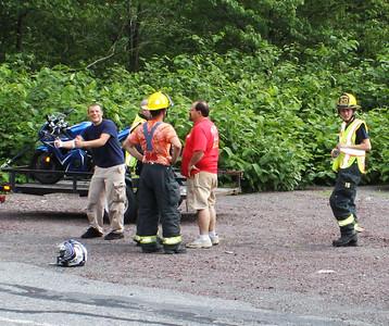 Motorcycle Hits Vehicle, bottom of Stadium Hill, Tamaqua (6-10-2011)