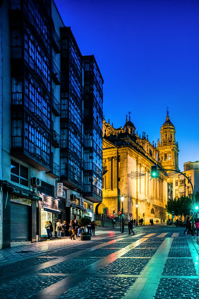 Bernabe Soriano Street, Jaen, Spain, with the Renaissance Cathedral on the background.