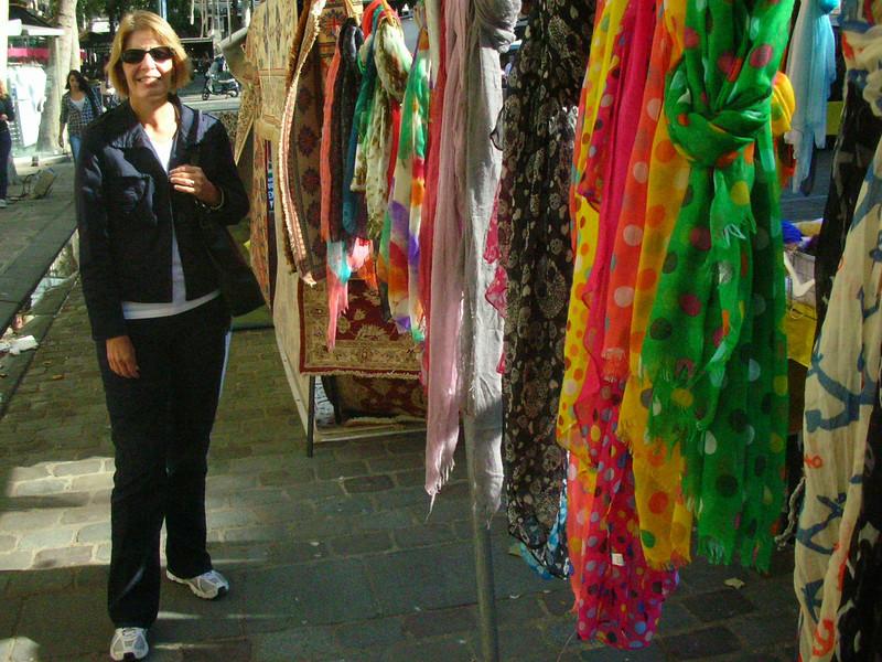 Scarf shopping along Rue de Rivoli.