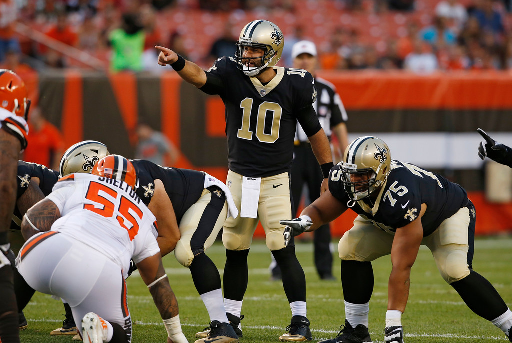 . New Orleans Saints quarterback Chase Daniel (10) points downfield during the first half of an NFL preseason football game against the Cleveland Browns, Thursday, Aug. 10, 2017, in Cleveland. (AP Photo/Ron Schwane)
