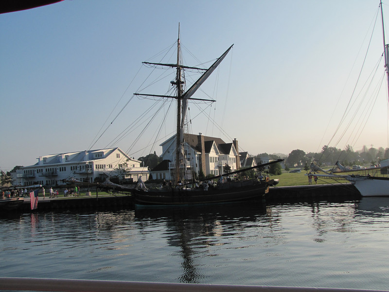 The sloop Friends Good Will, from South Haven, Michigan, is a replica of a square top sail sloop of the same name that sailed and fought in the War of 1812.