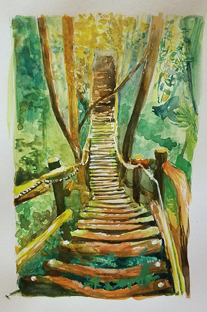 bridge in the forest, gouache
