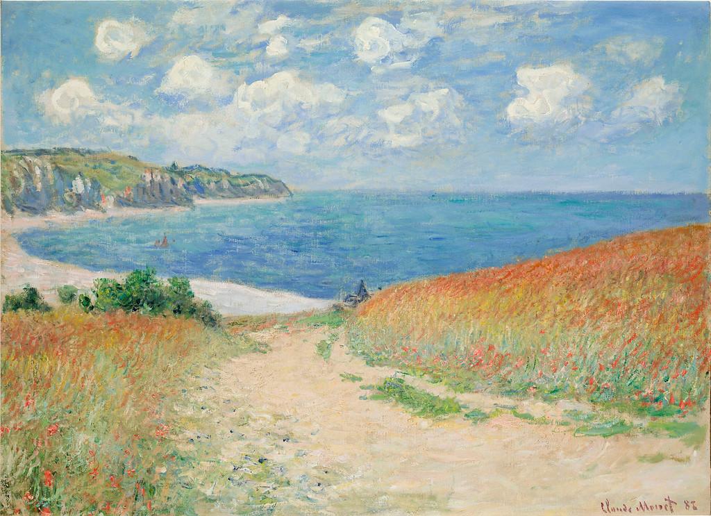 """. Claude Monet, \""""Chemin Dans Les Bles a Pourville,\"""" 1882, oil on canvas, 23x30.75\""""  (Image provided by the Denver Art Museum)"""