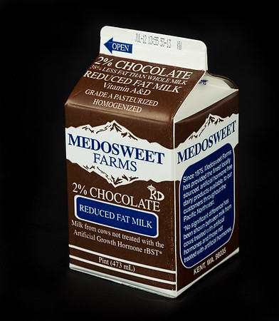Pint of Medosweet Farms chocolate milk.