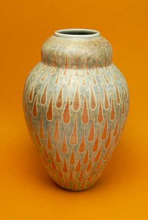 Wood fired cone 10, slip decorated vase (SOLD)