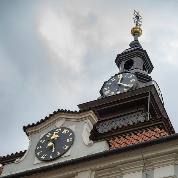 Hebrew clock at Jewish Town Hall, Jewish Quarter, Prague, Czech Republic