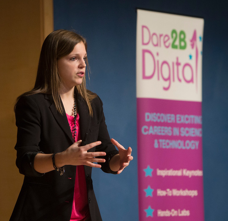 . Alina Cioletti, 21, a student at Ashland University and a kart racer, speaks at the Dare 2B Digital 4th Annual Conference for Young Women at the Oracle Conference Center in Redwood City, Calif. on Saturday, feb. 9, 2013. (John Green/Staff)
