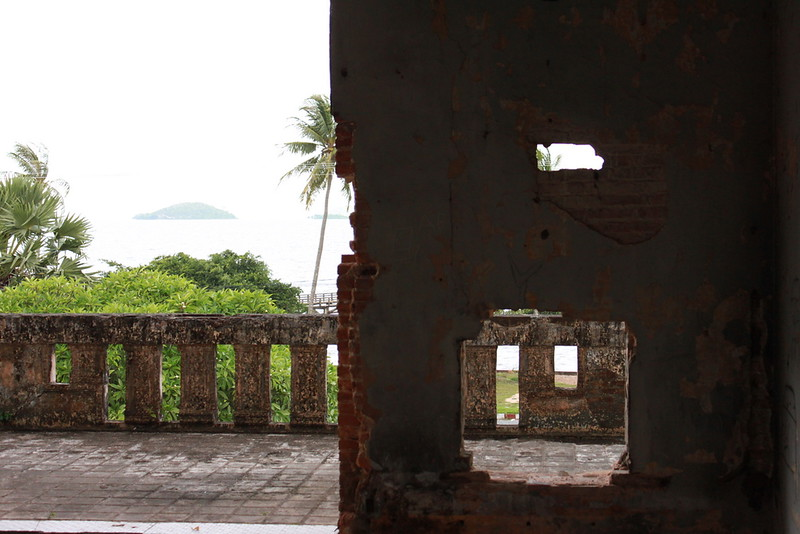 Looking out of the Royal Palace with Rabbit Island in the distance