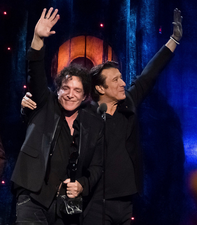. Inductees Neal Schon, left, and Steve Perry from the band Journey appear at the 2017 Rock and Roll Hall of Fame induction ceremony at the Barclays Center on Friday, April 7, 2017, in New York. (Photo by Charles Sykes/Invision/AP)