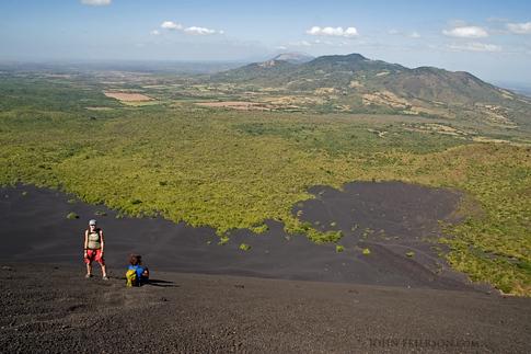 Halfway down the slope of the Cerro Negro Volcano