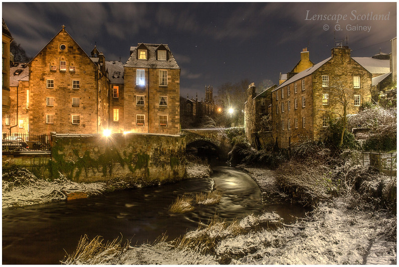 Dean Village in the snow, at night (2)