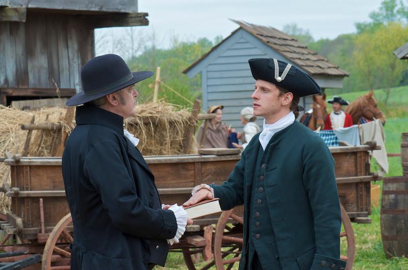 ". Kevin McNally as Richard Woodhull and Jamie Bell as Abe Woodhull in \""Turn\"" Season 1, Episode 1 (Photo by Antony Platt/AMC)"