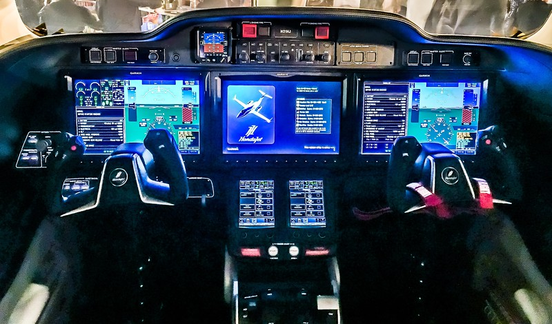 Cockpit of New HONDA Jet on display at Concours d'Elegance's Hangar Party at Boca Aviation
