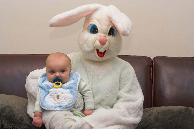 K.C. was a good boy while being held by the Easter Bunny.  He gained extra good boy points since it was over 3 hours since his last nap. (4x6 crop)