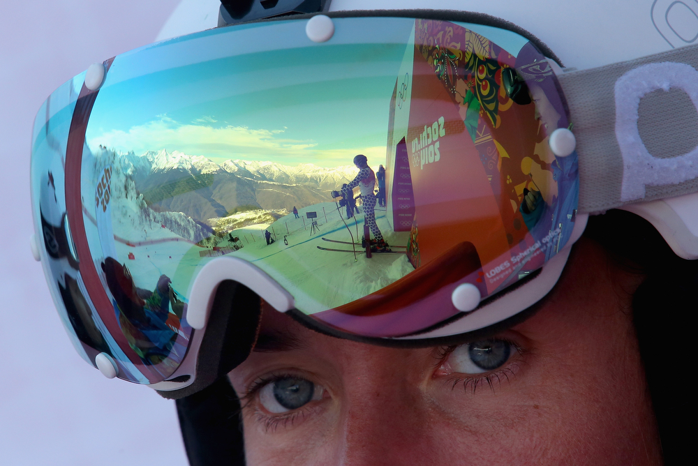 . Cristian Javier Simari Birkner of Argentina is seen in the visor reflection during the Alpine Skiing Men\'s Super Combined Downhill on day 7 of the Sochi 2014 Winter Olympics at Rosa Khutor Alpine Center on February 14, 2014 in Sochi, Russia.  (Photo by Alexander Hassenstein/Getty Images)