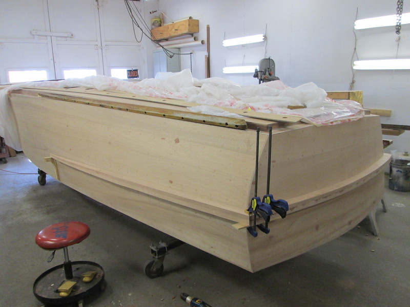 Port view of the spray rails being made.
